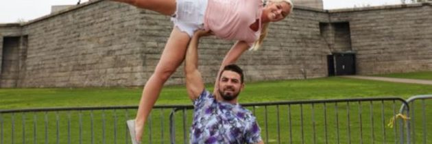 Midnight Mania! Mike Perry endorses acrobatic couples yoga while petting tiny dog